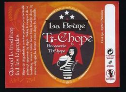 Etiquette Biere Brune T Chope 33cl / 75cl  Brasserie Ti Chope Plouvien 29 - Beer