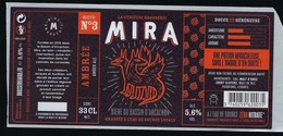 Etiquette Biere Ambrée Recette N°3 Mira 5,6% 33cl  Brasserie  Mira La Teste De Buch 33 - Beer