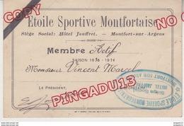Au Plus Rapide Var Montfort Sur Argens Carte Membre Actif Etoile Sportive Montfortaise Saison 19301931 - Maps