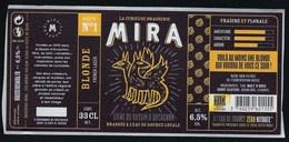 Etiquette Biere Blonde Recette N°1 Mira 6,5% 33cl  Brasserie  Mira La Teste De Buch 33 - Beer