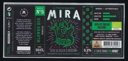 Etiquette Biere Blonde Bio Recette N°5 Mira 5,2% 33cl  Brasserie  Mira La Teste De Buch 33 - Beer