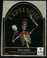 """Etiquette Biere  Noire L'Epitaphe  5,5% 33cl  Brasserie March Blenod Les Pont A Mousson 54  """"squelette"""" - Beer"""