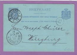 GANZSACHE MIT PRIVATEN ZUDRUCK(REPIQUAGE) VON EINER TABAKFIRMA IN ROTTERDAM NACH WÜRZBURG. - Postal Stationery