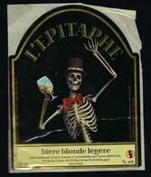 """Etiquette Biere Blonde Légère L'Epitaphe  33cl  Brasserie Marchal Blenod Les Pont A Mousson 54  """"squelette"""" - Beer"""