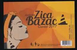 """Etiquette Biere Ambrée Zica Bazac Cuvée 2017  3,5% 33ml  Brasserie   La Hocq St Christophe 12 """"femme"""" - Beer"""