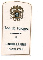 ETIQUETTE NEUVE EAU DE COLOGNE AMBREE B J. MABBOUD & P. GIRARD PARIS-LYON - Etiquettes