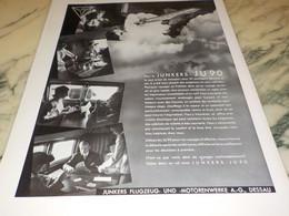 ANCIENNE PUBLICITE  POUR LE JUNKERS JU 90 DE 1938 - Advertisements