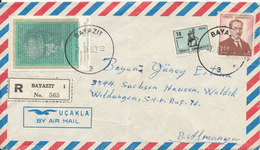Turkey Registered Air Mail Cover Sent To Germany Bayazit 7-2-1969 (bended Cover) - 1921-... Republic