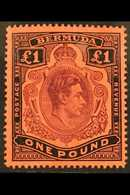 1938-52  £1 Purple & Black Red, SG 121, Very Lightly Hinged Mint For More Images, Please Visit Http://www.sandafayre.com - Bermuda