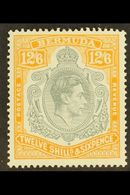 1938-53  12s6d Grey And Pale Orange, Perf 14 On Chalky Paper, SG 120b, Never Hinged Mint. For More Images, Please Visit  - Bermuda