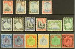 """1938-53  Complete """"Basic"""" Definitive Set, SG 116/121b, 5s & 12s6d Are Perf 13, Very Fine Mint (16 Stamps) For More Image - Bermuda"""