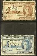 """1946  Victory Pair, Perforated """"Specimen"""", SG 123s/4s, Very Fine Mint, Large Part Og. (2 Stamps) For More Images, Please - Bermuda"""