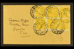 TIBET  1933 ½t Yellow Orange, Imperf, SG 98, Superb Block Of 8 Tied On Front By Gyantse Native Cds Cancels, Addressed To - Unclassified