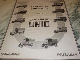 ANCIENNE PUBLICITE CAMIONNETTE UNIC    1923 - Camions