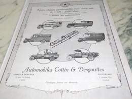 ANCIENNE PUBLICITE CAMIONNETTE COTTIN DESGOUTTES    1922 - Camions