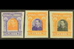 1891  10p President Brogan Large Design (as SG 69) - Three IMPERF PLATE PROOFS Printed In Different Colour Combinations  - Honduras