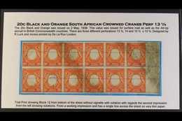 1938 TRIAL PRINT BLOCK OF TWELVE  20c Black And Orange, As SG 139, A Superb Imperf Trial Printing Block Of Twelve Showin - Publishers