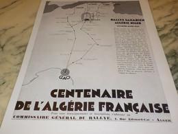 ANCIENNE PUBLICITE CENTENAIRE DE L ALGERIE FRANCAISE RALLYE 1930 - Pubblicitari
