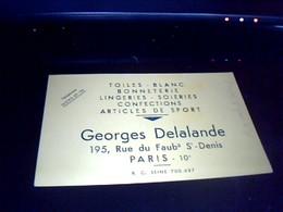 Vieux Papier Publicitaire Carte  De  Representant En Lingerie  Soieries..georges Delalande A Paris Rus Faubg St Denis - Maps