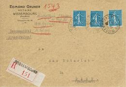 LETTRE RECOMMANDÉE Semeuse N°205 X3 Wissembourg 16 Février 1932 Pour Dahn 17 Février - Tarif 1er Août 1926 - Marcofilia (sobres)