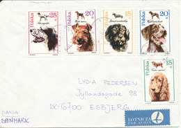 Poland Cover Sent Air Mail To Denmark Krynica 1989 Topic Stamps DOGS - 1944-.... Republic