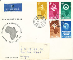 Nigeria FDC 25-1-1962 African & Malagasy States Lagos Conference Complete Set Of 5 With Cachet - Nigeria (1961-...)