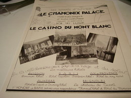 ANCIENNE PUBLICITE SPORT D HIVERS CHAMONIX LE CASINO DU MONT BLANC 1930 - Advertising