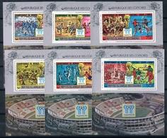 Soccer Football Comores Komoren Bl 175/80bA Silver - Red Ovpt  1978 World Cup Argentina MNH ** - Coupe Du Monde
