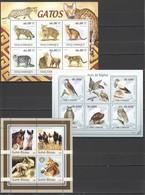 V1002 2003,2009,2011 MOCAMBIQUE S. TOME E PRINCIPE GUINE-BISSAU FAUNA CATS HORSES BIRDS RAPINA 3KB MNH - Domestic Cats