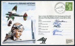 1981 GB BFPS Signed Flight Cover. Heinkel Test Pilot GERHARD NITSCHKE. RAF Waddington, Goose Bay, Canada, Omaha Nebraska - Covers & Documents