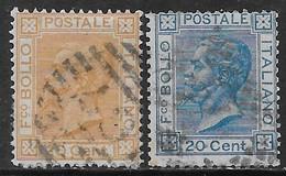 Italia Italy 1877 Regno Effigie Di Vittorio Emanuele II 2val Sa N.27-28 Completa US - 1861-78 Vittorio Emanuele II