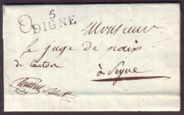 BASSES ALPES - LAC - 5 DIGNE (28x11) (1815) + Contreseing En Franchise Pour Seyne (5) - 1801-1848: Precursors XIX