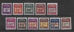AEF - TAXE YT N° 1/11 ** SANS CHARNIERE - COTE = 12 EUR. - A.E.F. (1936-1958)