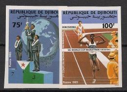 Djibouti - 1985 - N°Yv. 614 à 615 - Marathon - Non Dentelé / Imperf. - Neuf Luxe ** / MNH / Postfrisch - Djibouti (1977-...)