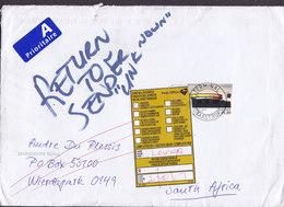 Denmark TERMINAL TAASTRUP 2017 Cover Brief South Africa 25.00 Kr. AROS Stamp RETURN TO SENDER Unknown Label Vignette - Denmark