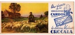 Buvard Chocolaterie Cardon, Le Délicieux Végécao Crocala. Illustration : Berger Et Son Troupeau De Moutons. - Cocoa & Chocolat