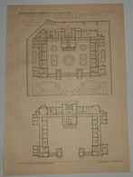 Plan De La Maison De Retraite Galignani Frères à Neuilly Sur Seine. M M. Delaage Et Véra, Architectes. 1891. - Travaux Publics