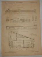 Plan Du Groupe Scolaire à Choisy Le Roi. M. Bonnenfant, Architecte. 1891. - Public Works