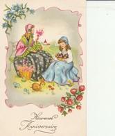 Fétes : Heureux Anniversaire : ( Femme,enfant Et Lapin, Ramassant Des Fleurs ) - Cumpleaños