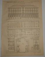 Plan Du Groupe Hospitalier, Rue De La Glacière à Paris.M. P. Bobin, Architecte. 1891. - Travaux Publics