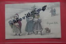 Cp Vienne Enfants Sous La Neige , Neige Rajoutee Couleur - Vienne