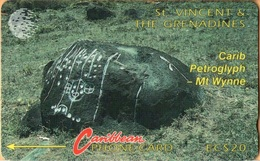 St. Vincent & The Grenadines - STV-5B, GPT, 5CSVB, Carib Petroglyph, 20 EC$, 22.000ex, 1992, Used - Saint-Vincent-et-les-Grenadines