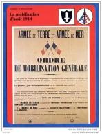Fiche Illustrée  La Mobilisation D'aout 1914 Guerre   Histoire De France  Guerres Et Révolutions - Histoire