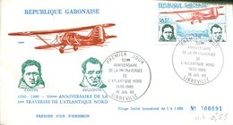 FDC Rép. Gabonaise : 50éme Anniversaire De La Traversée De L'Atlantique Nord - Libreville 16 Juil 1980 - N° 91/1000 - Gabon