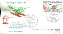 FDC Rép. Gabonaise : 50éme Anniv. De La 1ere Liaison Aéropost De L'Atlantique Sud - Libreville 16 Juil 1980 - N° 91/1000 - Gabon
