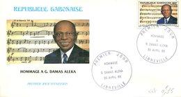 FDC Rép. Gabonaise : Hommage à G.Damas Aleka - Libreville 30 Avril 1985 - Gabon