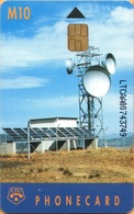 Lesotho - LES-01c, Earth Station (Chip S30, Glossy, LTCAA00), Satellite Dishes, 10 M, Used - Antilles (Netherlands)