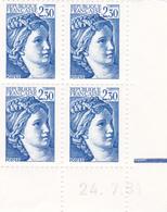 N° 2156 Coin Daté En Timbres Neufs Sabine 24/07/81 - Dated Corners