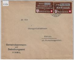 1942 Altstoffe 254-255/405-406 Hinwil Zürich To Zürich 26.V.42 - Suisse