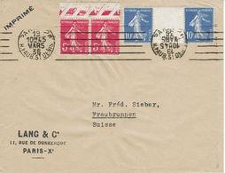 SEMEUSE CAMÉE N° 278B X2 + 279 X 2 Avec Pont - Lettre Paris 19 Mars 1936 Pour Fraubrunnen (Su) - 1906-38 Sower - Cameo
